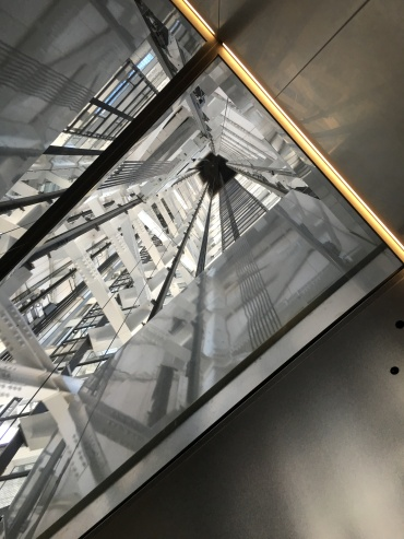 Looking up in the elevator